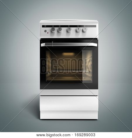 Gas Stove 3D Render On Grey Gradient Background