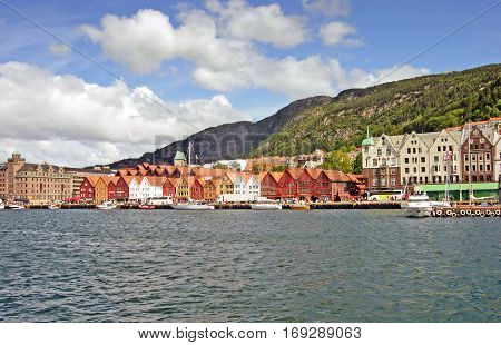 Harbor of Bergen with the old Bryggen