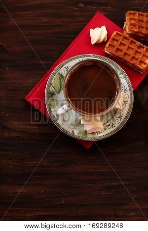 Sweet Viennese Waffles With Jam And Coffee