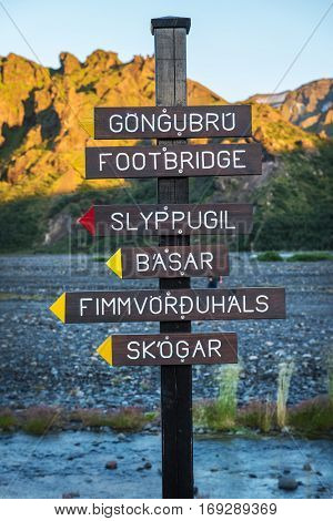 Signpost in Thorsmork hiking area between Thorsmork and Eyjafjallajokull and riverbed of Krossa cold fast river coming down from glacier Iceland
