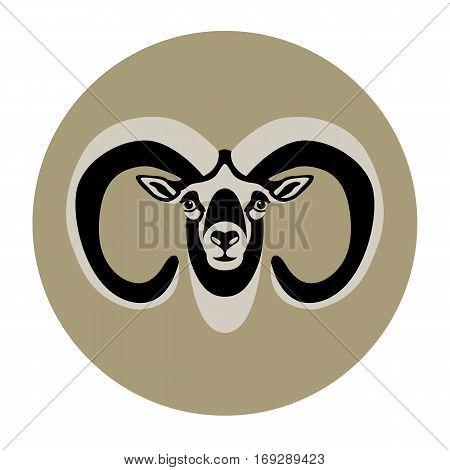 sheep ram  head vector illustration style Flat