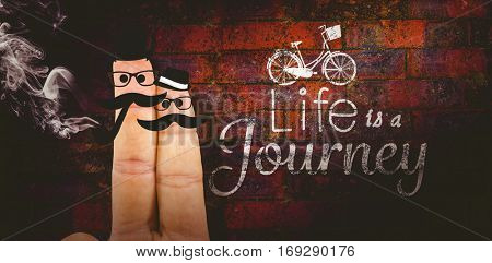 Two fingers with mustache against texture of bricks wall