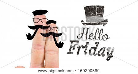 Fingers with mustache against hello friday word