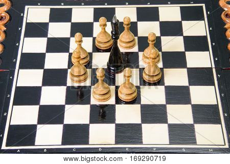 The Chess Pieces Are Placed On The Chessboard.