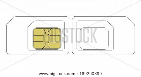SIM card size template, vector nano & micro SIM card gsm communication