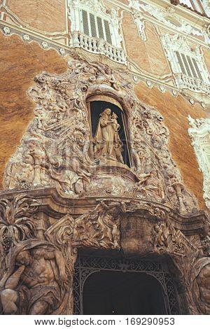 Facade of National Ceramics Museum Gonzalez Marti Valencia Spain .The historic Palace of Marques de Dos Aguas.
