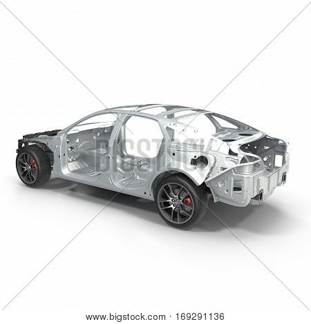 Car Frame with Chassis on white background. 3D illustration