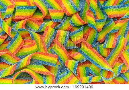 Detail of some delicious candy gummies multicolored
