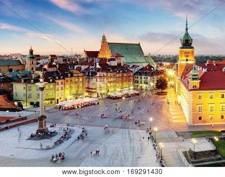 Warsaw Old Town Warsaw Poland during sunset.