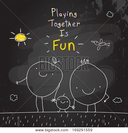 Family of fruits, vegetables, playing together outdoors. Vector illustration, chalk on blackboard doodle, hand drawn sketch, scribble.