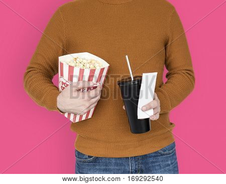 Popcorn Drinks Soda Movie Ticket Theater Leisure Activity