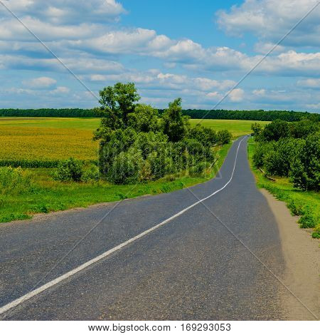 Old asphalt road in a hilly area Ukraine