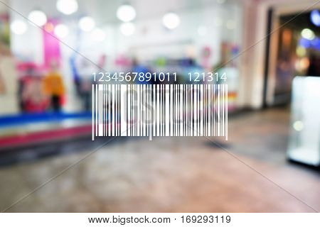 Barcode on blurred shopping mall background. Wholesale and retail concept. (It's not real code)