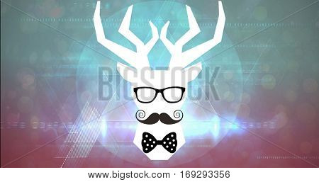 face with mustache and bow tie against blue and black triangle design