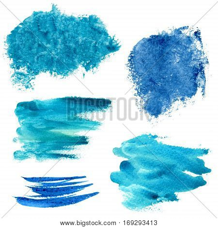 Raster vivid watercolor set of blue and turquoise spots. Marine and sea styles, design element, background for different purposes, textile image.