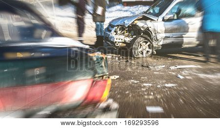 Car crash accident on street of Voronezh, damaged automobiles after collision in city. Image with blurred copy space