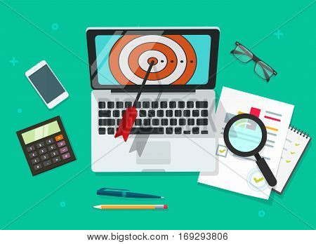 Successful Business target achievement vector illustration, laptop with aim and analysing financial data, targeting research concept, success goals report