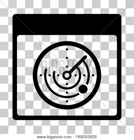 Radar Calendar Page icon. Vector illustration style is flat iconic symbol black color transparent background. Designed for web and software interfaces.