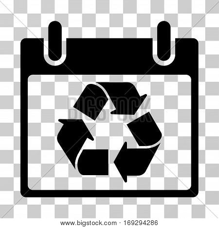 Recycle Calendar Day icon. Vector illustration style is flat iconic symbol black color transparent background. Designed for web and software interfaces.