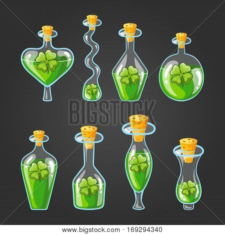 Set with bottles of clover leaf potion, magic elixir. Game design illustration