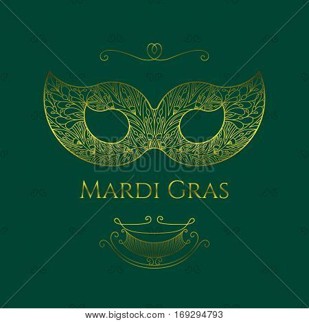 Beautiful lace mask for masquerade Mardi Gras and for the Venice Carnival. Vector illustration in gold color on dark green isolated background. Classical elegant style.