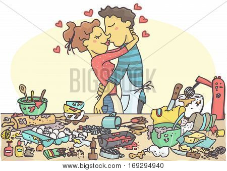 Woman and man kissing while making pastries, messy table full with cake items and ingredients