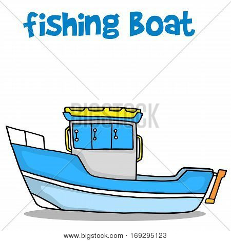 Transport of fishing boat vector art illustration