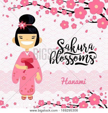 card with Japanese girl, hanami festival, sakura blossom season. Vector illustration flat design