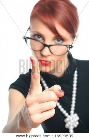 strictness young retro-styled teacher (focus on hand)