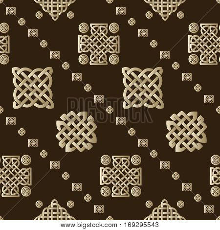 Celtic knot seamless brown pattern. Abstract background.