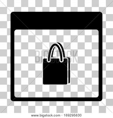 Shopping Bag Calendar Page icon. Vector illustration style is flat iconic symbol black color transparent background. Designed for web and software interfaces.