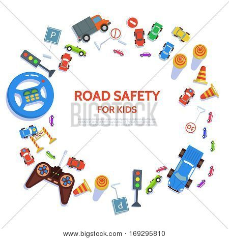 Road safety template with play car road symbols. Vector illustration drivers education in flat style. Traffic laws concept on white background.