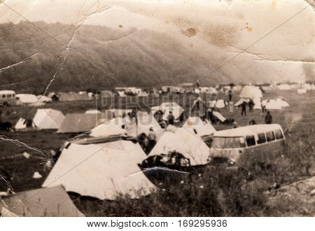 Vintage photo of big camping (Poland, 1950's)