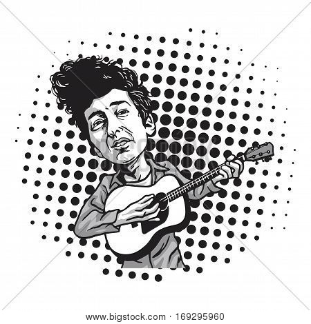 Bob Dylan Cartoon Playing Guitar. Black and White Cartoon in Pop Art Background Vector Illustration. February 7, 2017