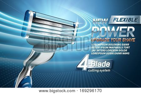 power shavers ad with four blades light blue background 3d illustration
