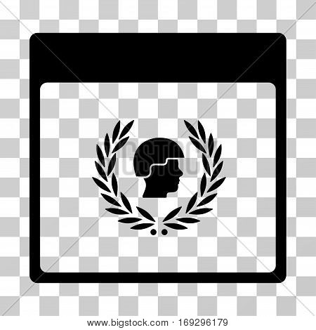Soldier Laurel Wreath Calendar Page icon. Vector illustration style is flat iconic symbol black color transparent background. Designed for web and software interfaces.