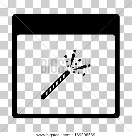Sparkler Firecracker Calendar Page icon. Vector illustration style is flat iconic symbol black color transparent background. Designed for web and software interfaces.