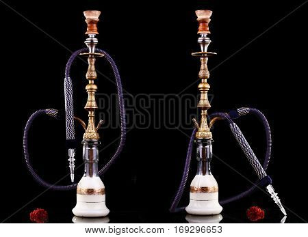 collage of hookahs on a black background