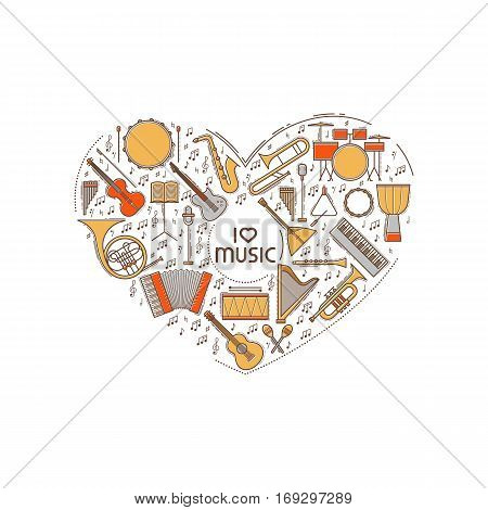 Vector concept with colorful music instruments icon set in heart shape. Thin line illustration. Sound silhouette isolated. Pictogram sign. Guitar harp violin bass drum piano saxophone note elements