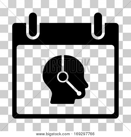 Telemarketing Operator Calendar Day icon. Vector illustration style is flat iconic symbol black color transparent background. Designed for web and software interfaces.
