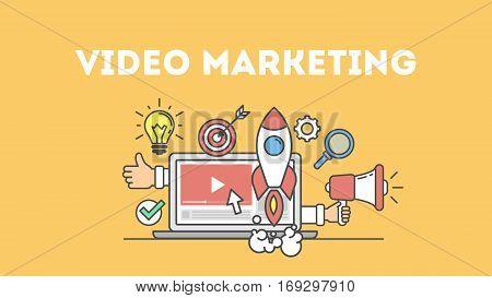 Video marketing concept poster. Digital design. Social network and media communication.