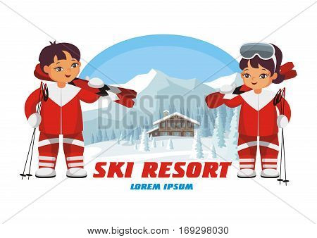 The vector image of skiers on the background of a winter mountain landscape.