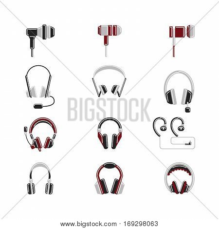 Isolated headphones set on white background. Headphone and earphone. Audio equipment.