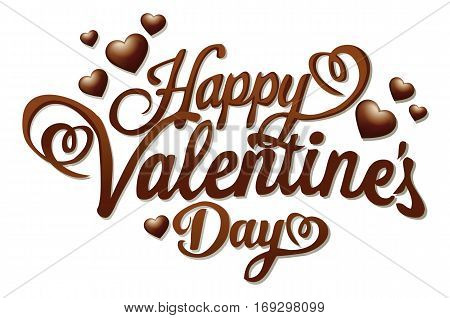 Sweet Valentines sign with chocolate  hearts - vector illutration