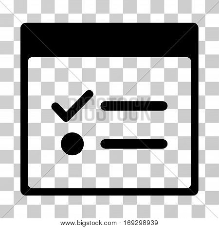 Todo Items Calendar Page icon. Vector illustration style is flat iconic symbol black color transparent background. Designed for web and software interfaces.