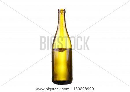 Bottle Of White Wine On Isolated Reflective White Background