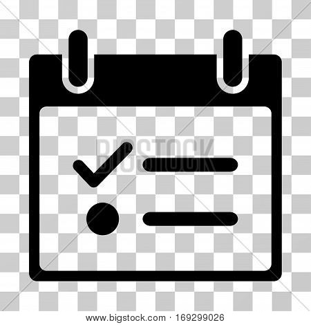 Todo List Calendar Day icon. Vector illustration style is flat iconic symbol black color transparent background. Designed for web and software interfaces.