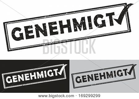 Approved (German language: Genehmigt) rubber stamp /label.  Grunge design with dust scratches. Grunge layer is applied exactly on the colored stamp. Color can be  easily changed.