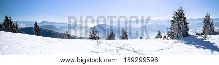 Panoramic view snowcapped mountains, european beautiful winter mountains, snowy mountain, high mountain panorama, alpine mountains in winter.