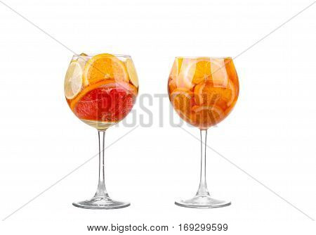 Collage White Sangria In Stemware On A White Background